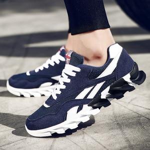 Image 2 - Zapatillas de deporte de talla grande para hombre, zapatos informales transpirables con fondo de hoja ondulada, suela para masaje, zapatos de malla, Color rojo, 49 colores combinados, 15