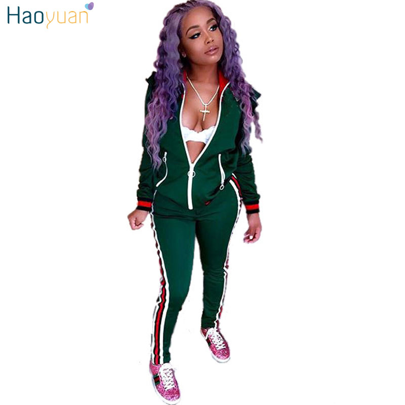 HAOYUAN Two Piece Set Autumn Winter Zipper Jacket Top And Side Striped Pants Green Fitness Outfit
