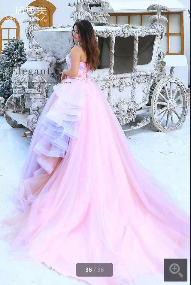 2016 הגעה לניו הוורודה נסיכה נפוחה כדור שמלת קפלים רכבת קפלת שמלת חתונה זול ארוכות שמלות כלה הנמכר ביותר