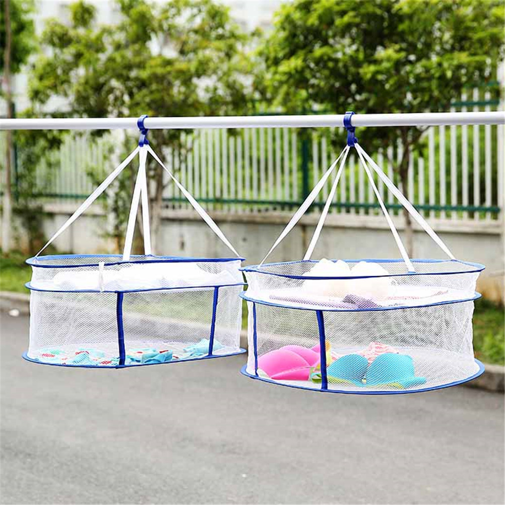 1PC Household Super Useful S Hook Drying Rack Folding Hanging Clothes Laundry Basket Dryer Net 56*56cm