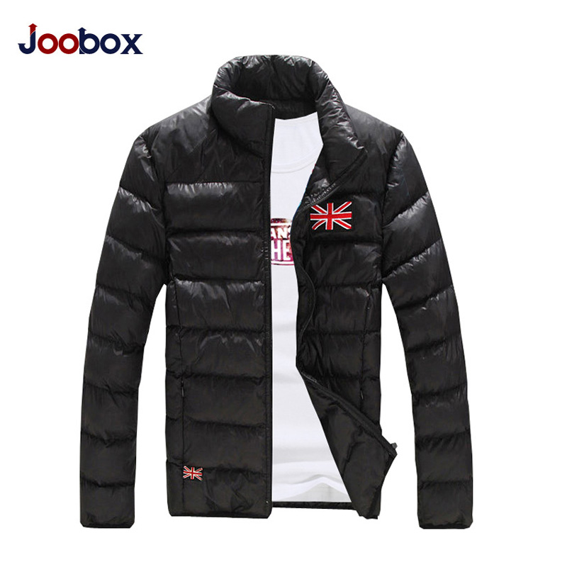 Marka erkek yastıklı slim fit sonbahar kış ceket kaban katı 4 renkler artı boyutu M ~ XXXL Parkas erkekler Şerit desen mont