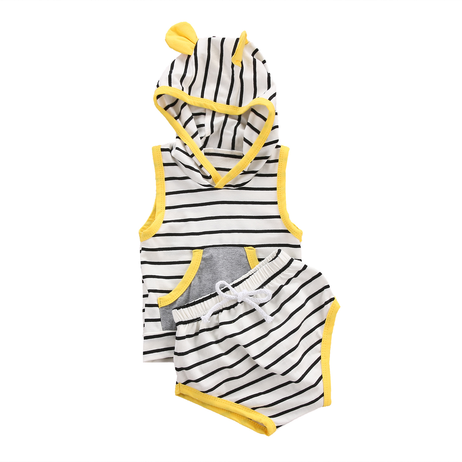 2pcs Newborn Baby Boys Girls Clothes Striped Sleeveless Hooded T-shirt Tops+Pants Triangle Outfits