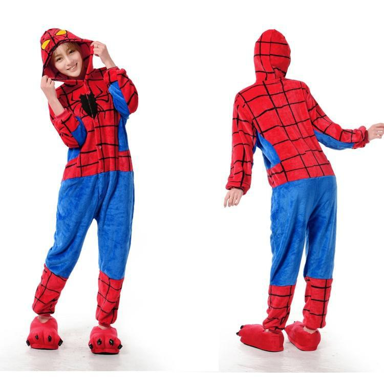 fd7bfe1cb473 Spider Man Superhero Onesies Animal Onesies Pajamas For Adult Cute Women s  One Piece Onesies Pajamas Hooded Onesies