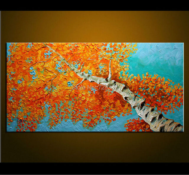 Handpainted Modern Home Decor Painting Living Room Hall Wall Art Picture Thick Colors Tree Autumn Scenery