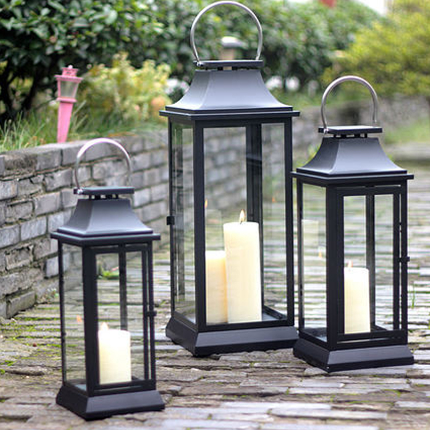 Classic Large size Metal Candlestick Decor Candle Holders Iron Glass Hanging Candlestick Candle Lantern Home Party Wedding Decor