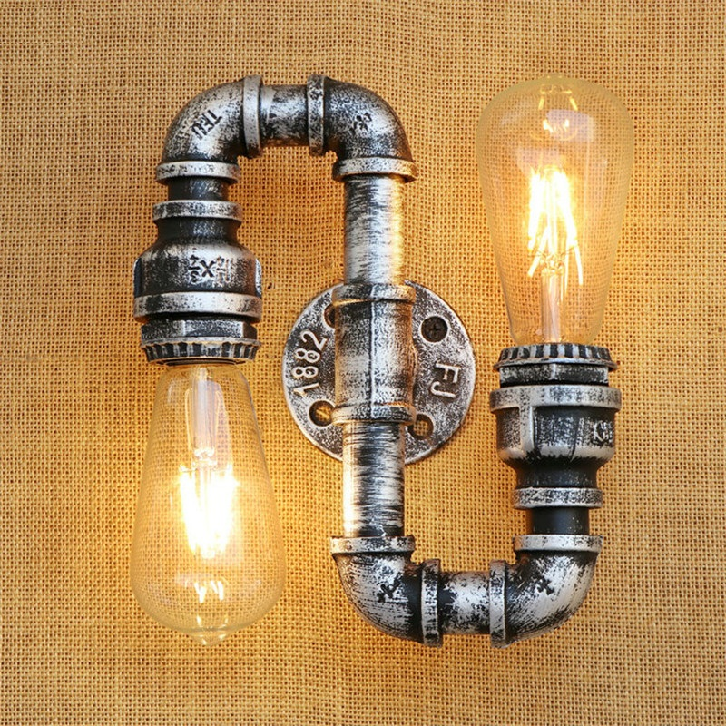Industrial Loft Style Vintage LED Wall Light Fixtures Metal Water Pipe Edison Wall Sconce Retro Wall Lamp Indoor Lighting