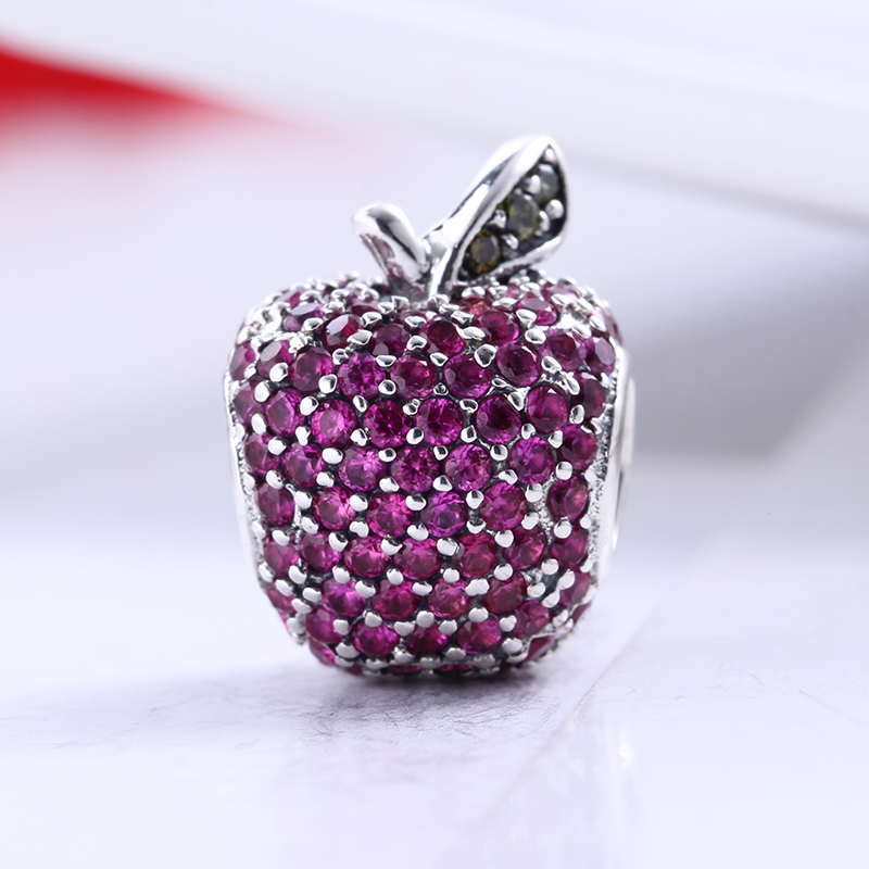 New 100% 925 Sterling Silver Fit Original Pandora Bracelet Rose Red Pave CZ Apple Charm Beads for Jewelry Making Gift