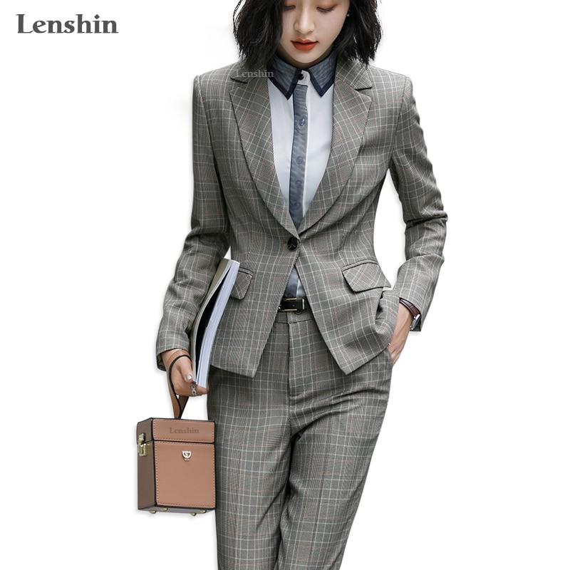 Lenshin 2 Piece Set Formal Plaid  Pant Suit One Button Blazer Office Lady Uniform Design Women Business Jacket Pant Work Wear