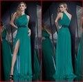 Vestido de noche 2017 nuevos vestidos de noche de un hombro un line Maxi Larga de Alta Raja Del Lado Apliques Vestidos Del Partido Vestidos de Fiesta