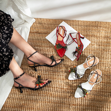 Fashion Womens Sandals Open Toe Strappy Stilettos Shoes Real Leather Slingbacks 3D Flowers Decoration strappy open shoulder jumper