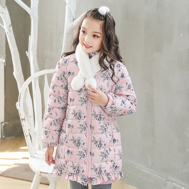 printed floral girls 2018 winter coats kids jackets clothes teenage girl warm cotton tops baby padded children parkas clothing teenage girls winter fleece long coats and jackets kids double breasted warm padded cotton solid jacket girl children clothing
