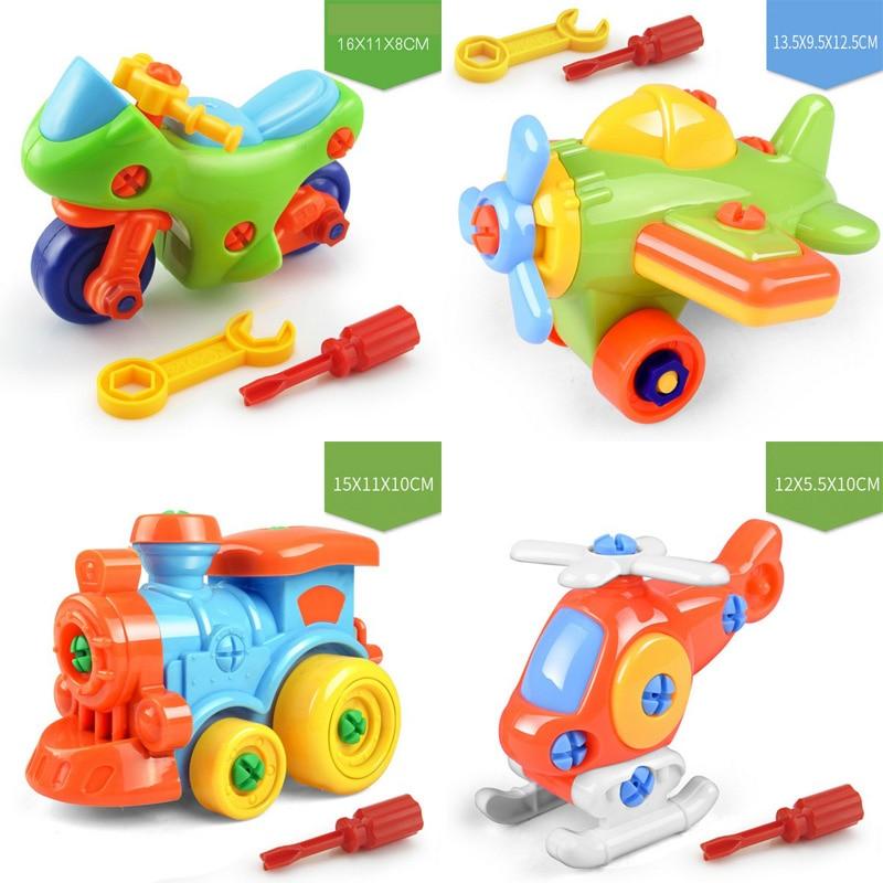 Motorrad Hubschrauber Zug Auto Flugzeug Jeep Bike Dinasour Diy Spielzeug Für Kinder Geschenk Schraube Mutter Montage Baby Kid Junge Mädchen flugzeug