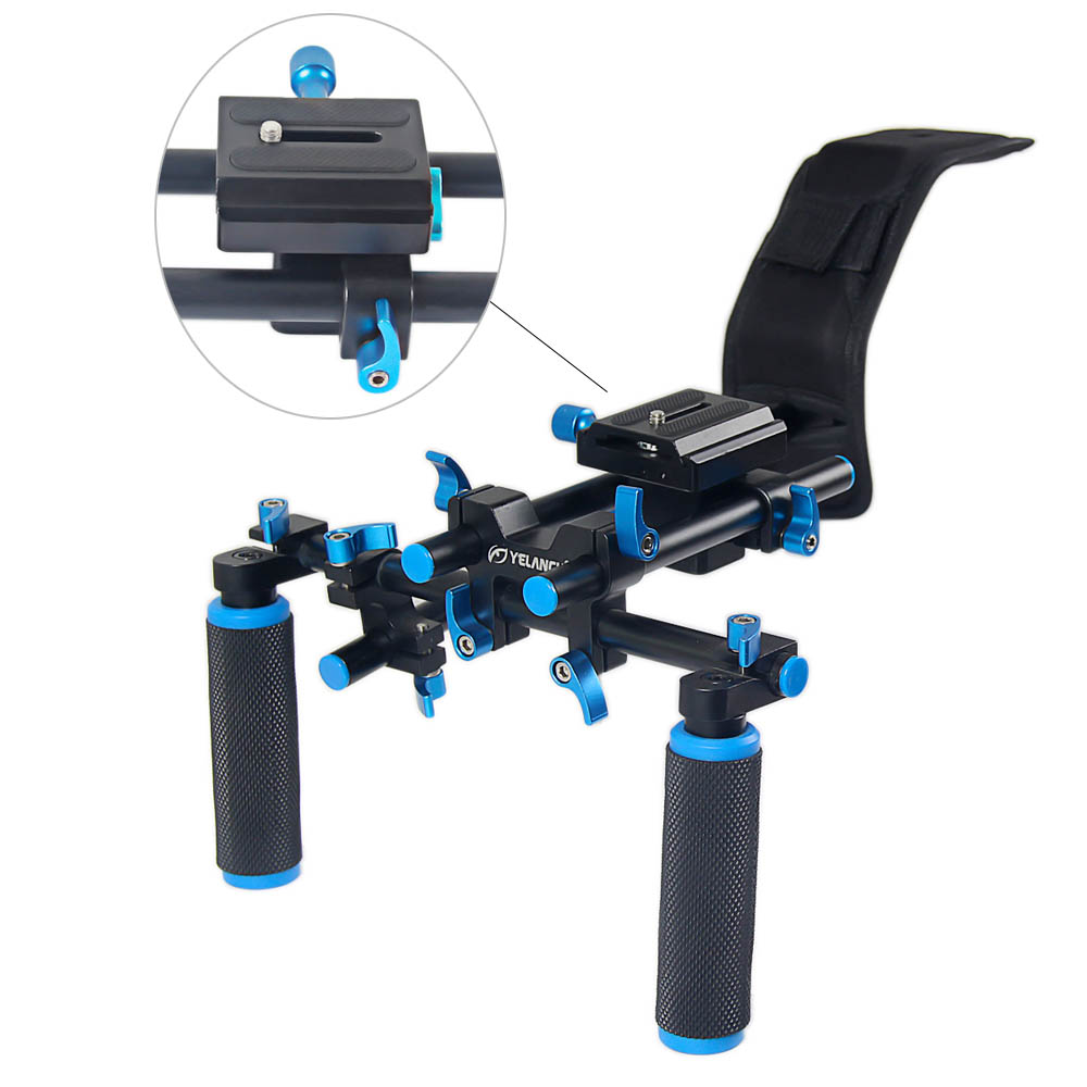 New Portable DSLR Rig Film Maker System Dual-hand Handgrip Shoulder Mount For Canon Sony Nikon SLR Video Camera DV Camcorder tilta ug t03 universal dslr rigs front handgrip for 15mm 19mm rod rail system shoulder mount rig