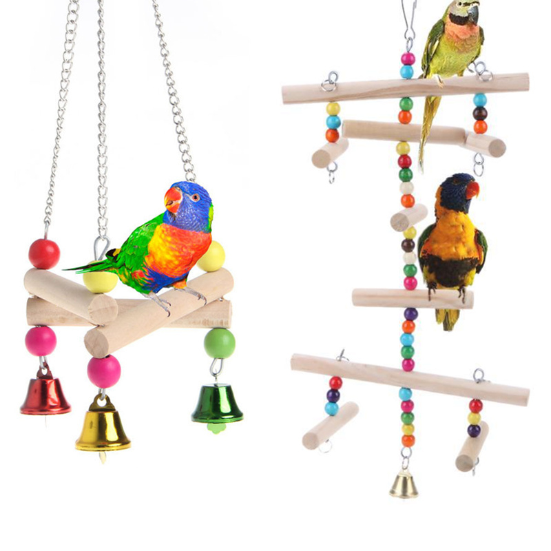 Colorful Birds Toy Parrot Swing Cage Toy Parakeet Cockatiel Lovebird Wooden Parrots Swings with Bells Hanging Chewing Cage Toy