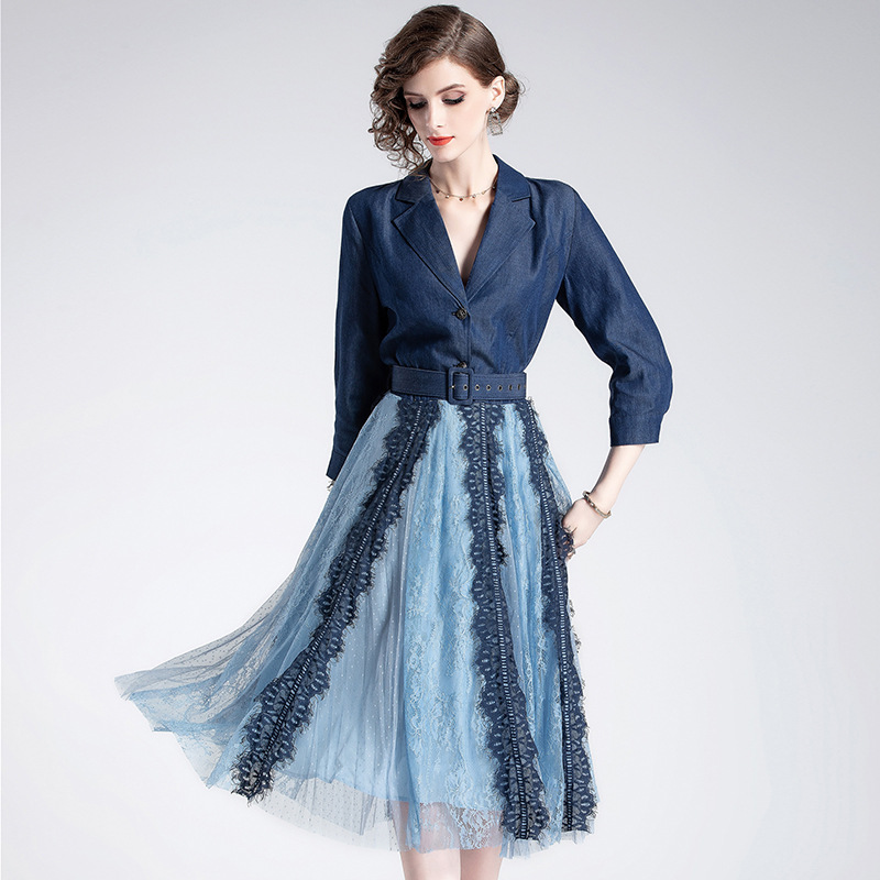 Dress Women New Faux Two Piece Women Clothes 2019 Spring Fashion Elegant Denim Lace Patchwork Natural 3/4 sleeve A Line Dress
