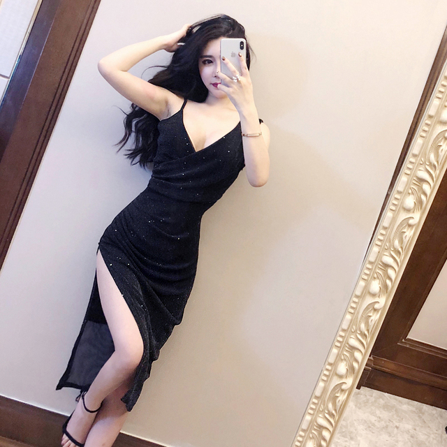 0f9b78703bce4 2018 summer new sexy deep V was thin side slit in the long sparkling dress  nightclub dress-in Dresses from Women's Clothing & Accessories on ...