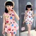 Cute Girls Summer Sets Fashion Floral Organza Personal Cultivate Kid's Morality Clothes Princess Casual T-shirt+Short  2Pcs/Suit