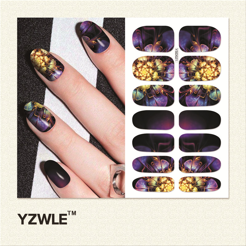 YZWLE 1 Sheet DIY Decals Nails Art Water Transfer Printing Stickers Accessories For Manicure Salon (YSD021) yzwle 30 sheets diy decals nails art water transfer printing stickers accessories for nails