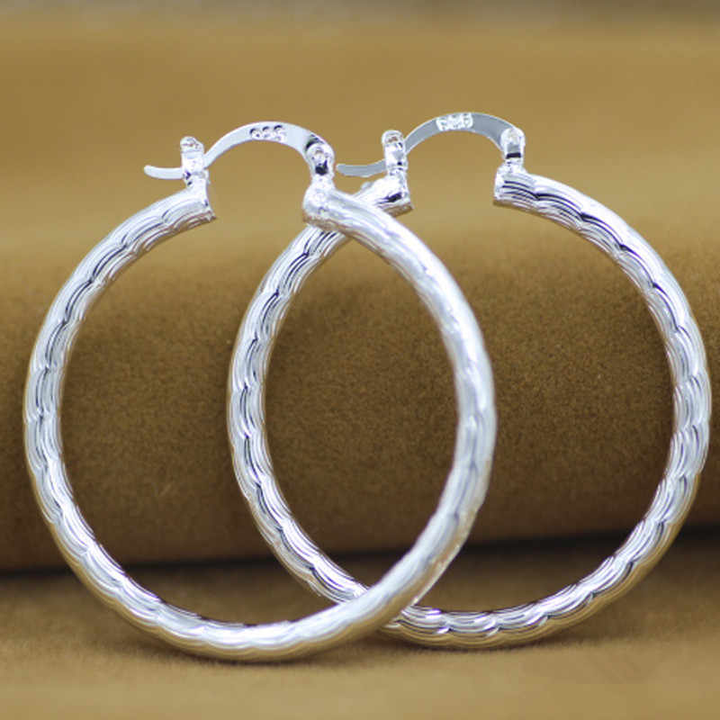 925 sterling silver hoop earring for women large luxury design good quality vintage wedding jewelry  Eh008