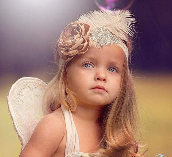 Vintage Princess Girls Feather Lace Destar Bayi Soft White Headband Kids Rhinestone Headwear Kanak-kanak Rambut Band Foto