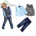 Toddler kids Trajes Handsome boy juegos de ropa para niños boy chaleco + arco de la camiseta + del dril de algodón pantalones de jean 3 unids ropa conjuntos L225