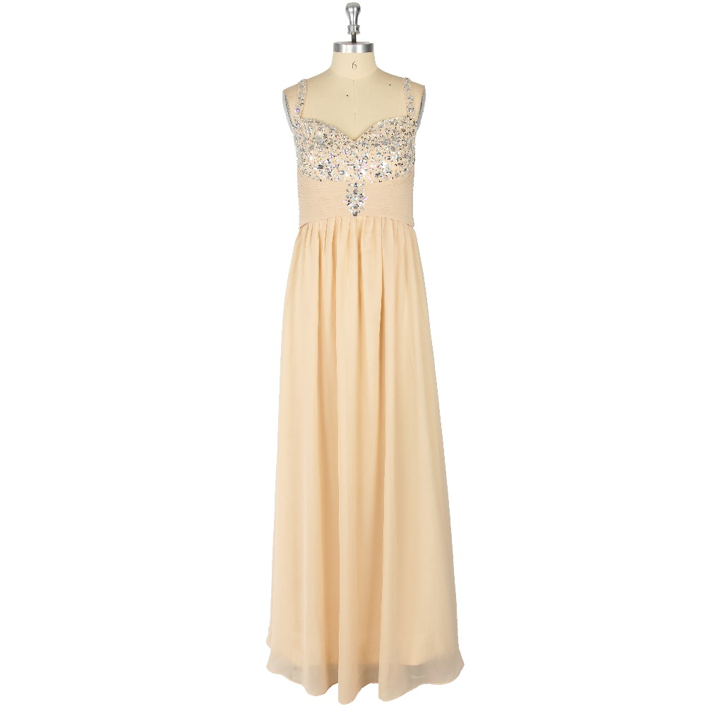 Champagne Crystal Ruched Spaghetti Strap A-Line Floor-Length Zipper   Prom     Dress   Formal Event