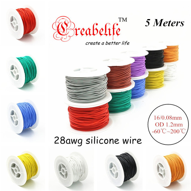 5 Meters 28 AWG Flexible Silicone Wire RC Cable 28AWG 16/0.08TS OD 1.2mm Tinned Copper Wire With 10 Colors to Select