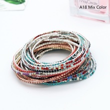 Free Shipping 5pcs Round Colorful Glittering Claw Cup Chains Full Rhinestones Bangle Bracelet Jewelry DIY Accessories Wholesale