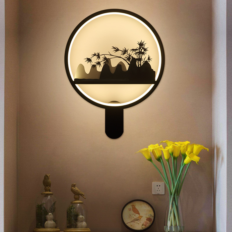 Chinese Vintage Landscape LED Wall Lamp Light Fixtures Bedside Light Living Room Wall Sconce Lamp Bedroom Night Light Home Docor fumat stained glass table lamp high quality goddess lamp art collect creative home docor table lamp living room light fixtures