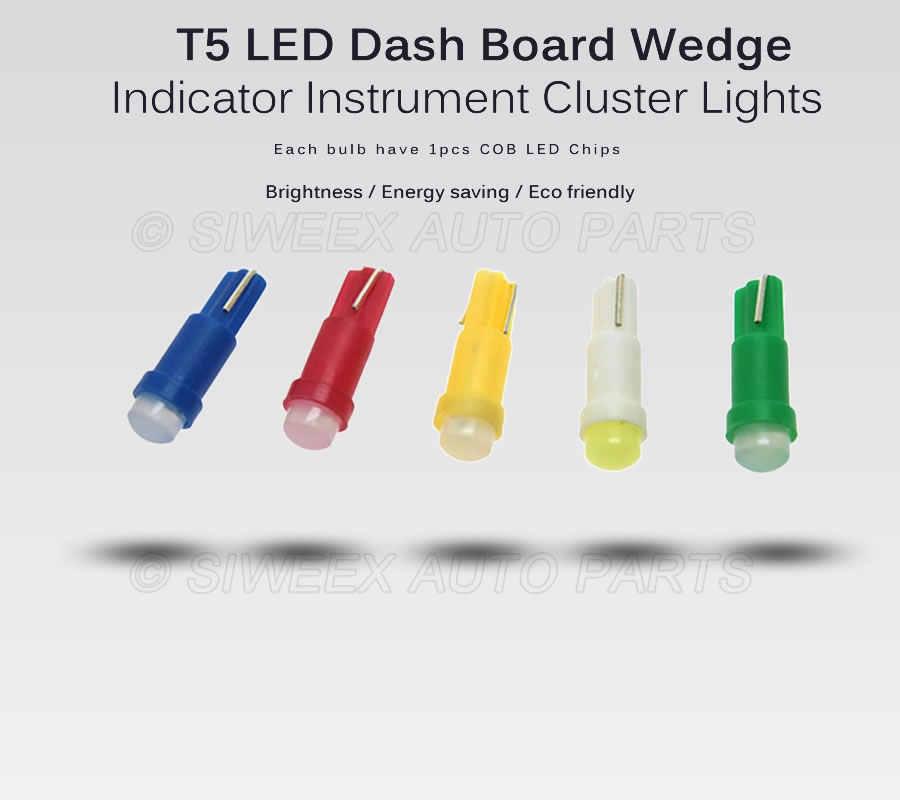 20 ピース/ロット W1.2W ソケット T5 LED 12 V 車の自動車サイドウェッジゲージダッシュボードゲージ計器ライトランプ電球アイス青赤緑黄