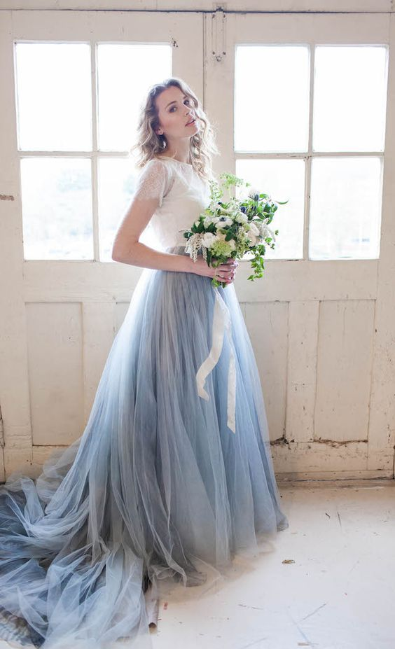 2017 chic serenity blue and white wedding dress a line for Blue lace wedding dress