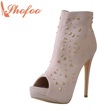 Superstar Shoes Top Quality Light Purple Ankle Open Toe Boots For Women 100mm High Heels Clogs Rivet Botas Shoes Size 4-16