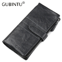 Genuine Leather Brand Designer Cow Leather Men Clutch Wallet Business Fashion Zipper Long Money Purse Card