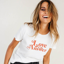 NiceMix 2019 Love Is the Answer Letters Print Women Casual Funny T Shirt for Lady Top Tee Hipster Summer Fashion