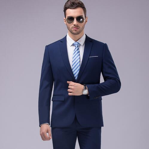 12 Color 2pcs Slim Fit Suits Men Notch Lapel Business Wedding Groom Leisure Tuxedo 2019 Latest Coat Pant Designs Costume Homme in Suits from Men 39 s Clothing
