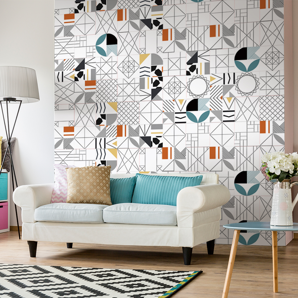 Funlife tile sticker geometry abstract waterproof self adhesive easy to clean wall sticker wall art furniture