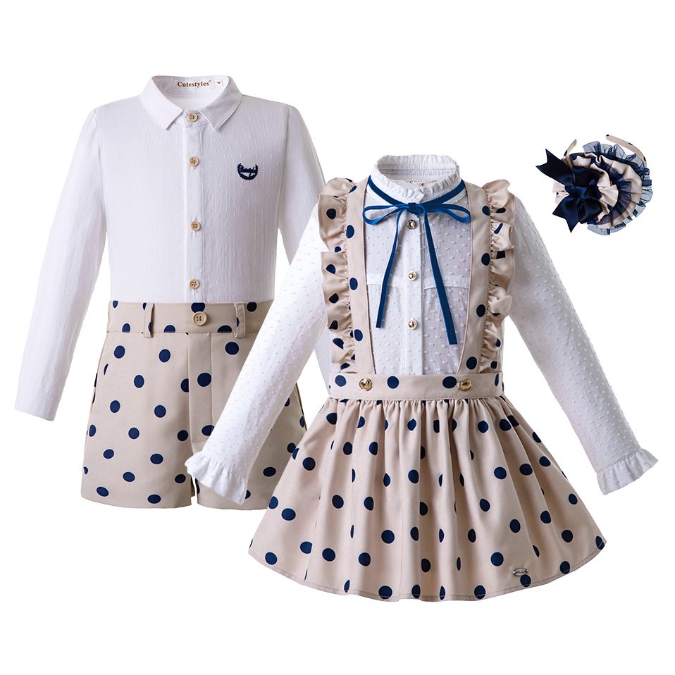 Pettigirl Autumn Dot Brother Sister Series Khaki Baby Girls Clothing Set Boy Clothing Set Collocation Children