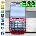 100% original de nokia e63 mobile teléfono 3g wifi bluetooth teclado qwerty desbloqueado e63 rojo y un año de garantía