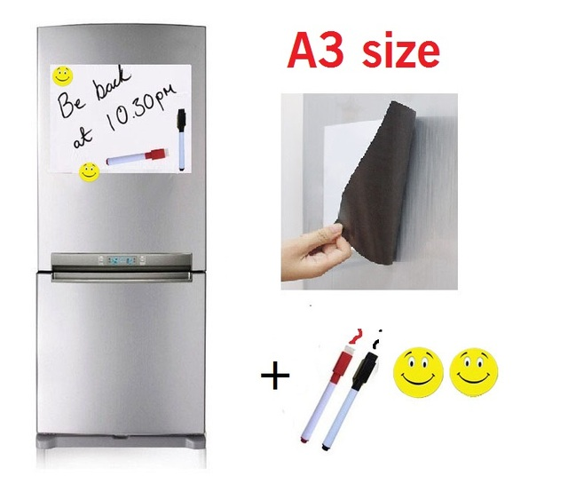 A3 Size Magnetic Whiteboard Fridge With 2 Pens 2 Magnet Home Kitchen  Message Magnets Sticker Flexible