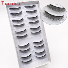 Thermidor 3D Natural False Eyelashes Short Lashes Long Fake High Quality Fiber Eyelash Korean Messy Makeup Lash Reusable