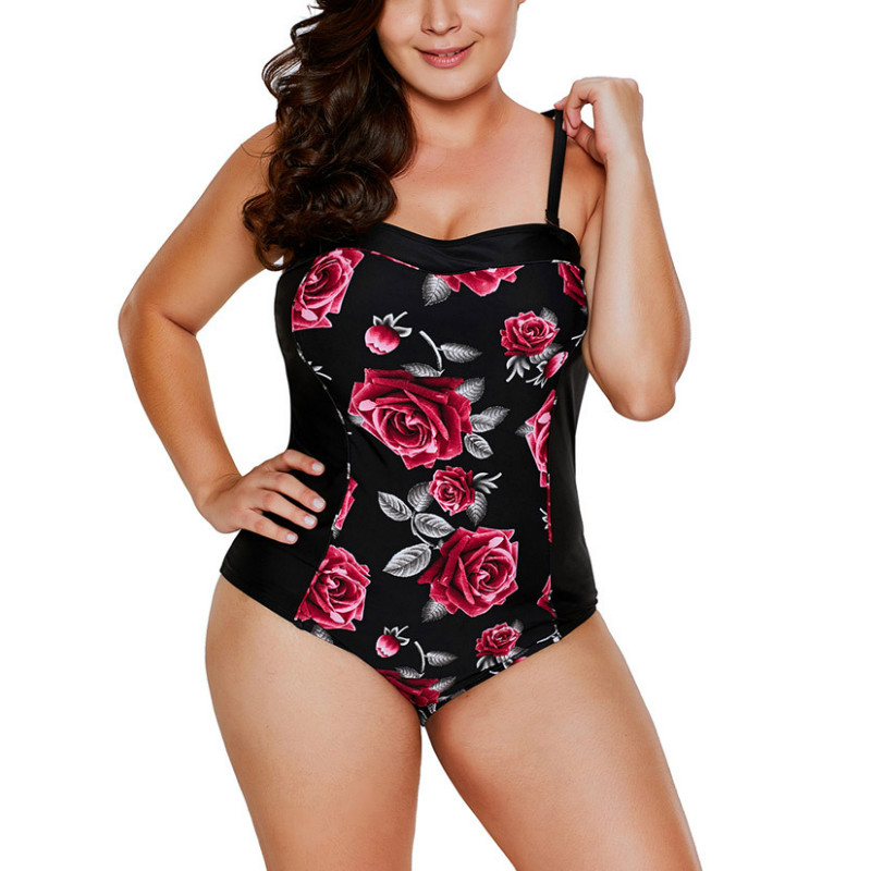 Large Size Floral Swimsuit One Piece Swimwear Female Plus Size Women's Beach Swimsuits Departure May Swim Suits Beachwear E232 2017 may beach halter bikini one pieces indoor asian swimsuit miley cyrus costume departure beach black swimsuit seafolly