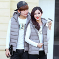 Hot Sale New Slim Man and Women Vest Autumn Winters Down Hooded Padded Couple Vests Sleeveless Jacket Casual Coat Outerwear 1665