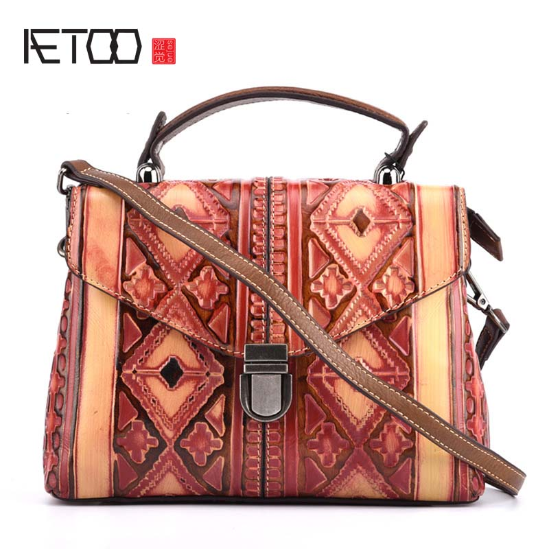 AETOO Retro ladies first layer of leather diagonal Messenger bag handbag embossed leather handbags aetoo new leather handbags ladies first layer of leather shoulder messenger bag retro retro tanned handmade bag
