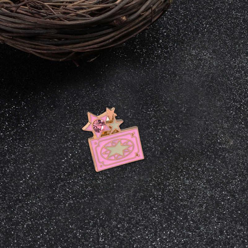 ラブリーピンクの漫画のブローチワインタバコフラミンゴエナメル金属ピンジーンズラペルピンバッグアイコンバッジ女性錦織りジュエリーギフト