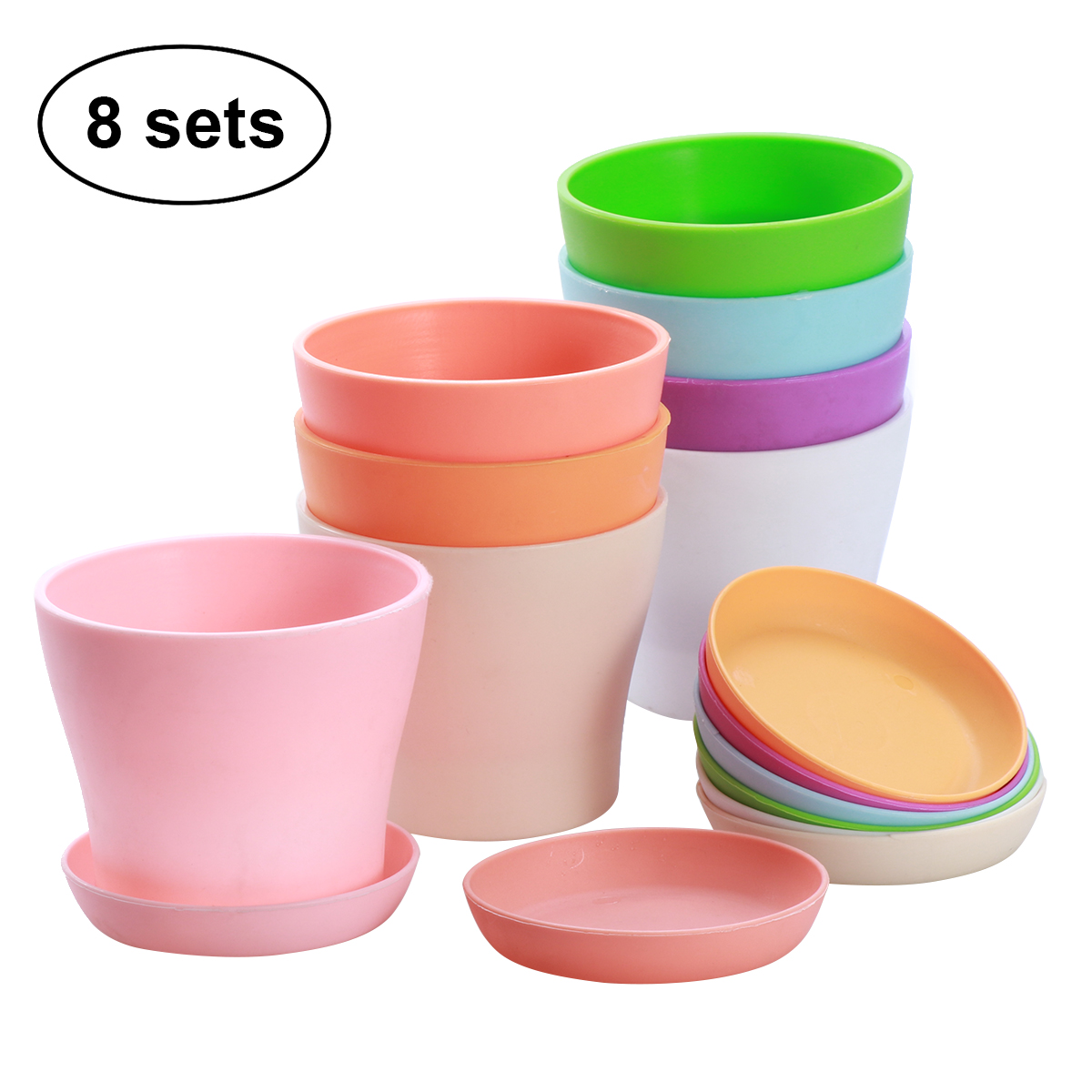 8PCS Plastic Hign-waist Flower Pots Plant Pots with Tray for Fleshiness Planter Garden Balcony - XS
