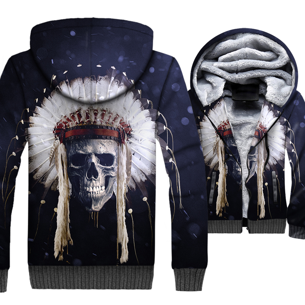 Skull Jacket Men 3D Hoodies Swag Sweatshirt 2018 Winter Thick Fleece Warm Zipper Coat Jacket Hip-Hop Sportswear Brand Clothing