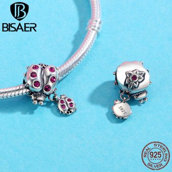 Authentic 100% 925 Sterling Silver Small Insect Ladybug Beads Fit Charms Original Bracelet Necklace Jewelry