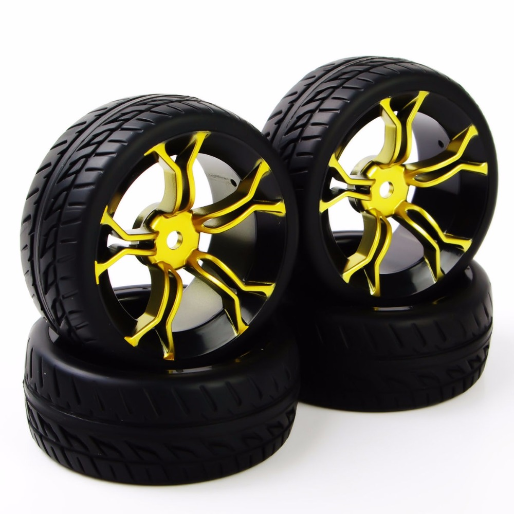 4Pcs Rc Car Tires Rubber Tyre & Wheel Rim For HSP HPI RC 1:10 Flat Racing On Road Car Tires Accessory aluminum 6 spoke wheel rim for 1 10 rc on road racing car