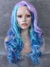 K07 26inch Wavy Blue Light Purple Mix Color Synthetic Lace Front Wigs Heat Resistant Heavy Density kanekalon Women Cosplay Wigs