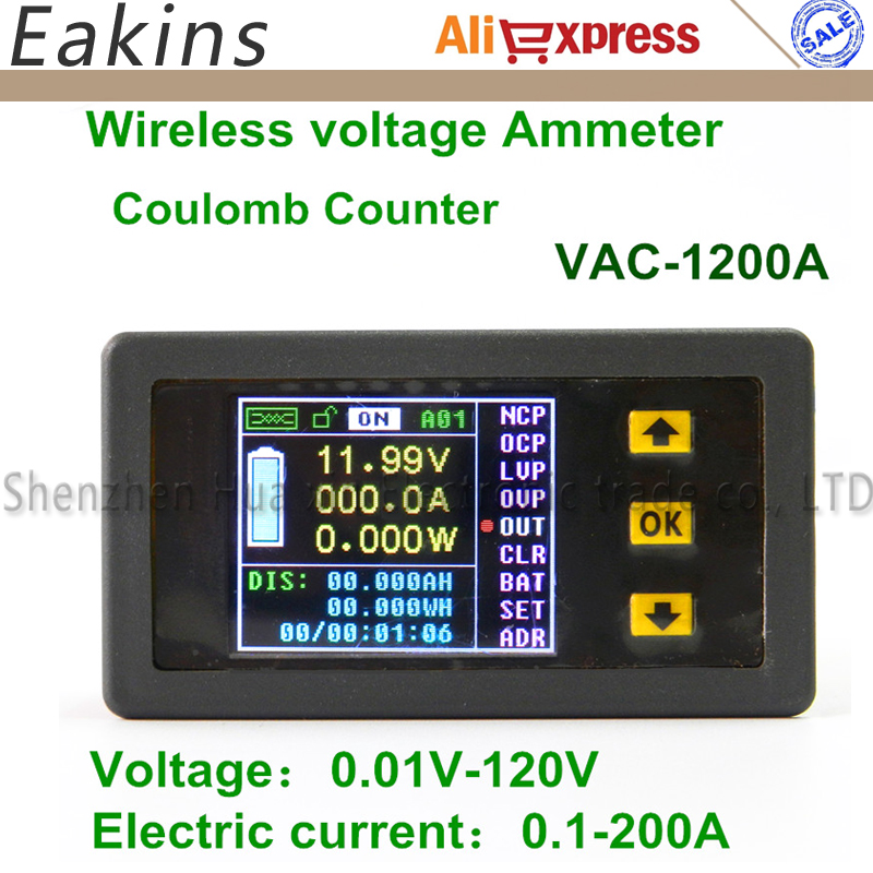 1200A Color Multifunction Digital LED power meter monitor Voltage KWh meter kw meter Volt Ammeter voltmeter 0.01-120V 0.01-200A